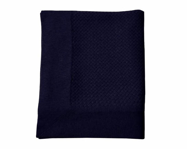 Bari Criss Cross Cashmere Throw - Navy | DSHOP