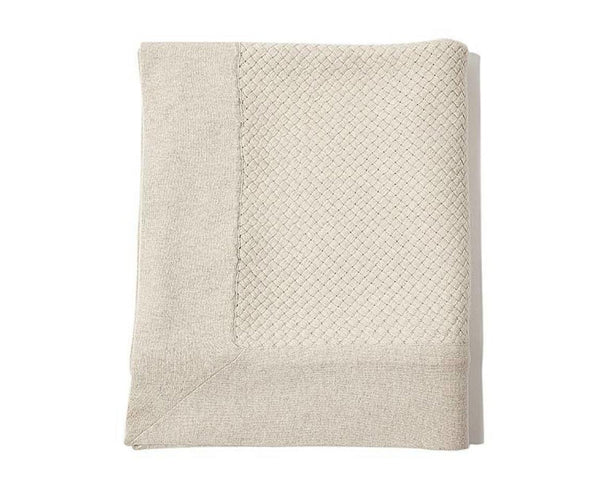 Bari Criss Cross Cashmere Throw - Pearl Gray