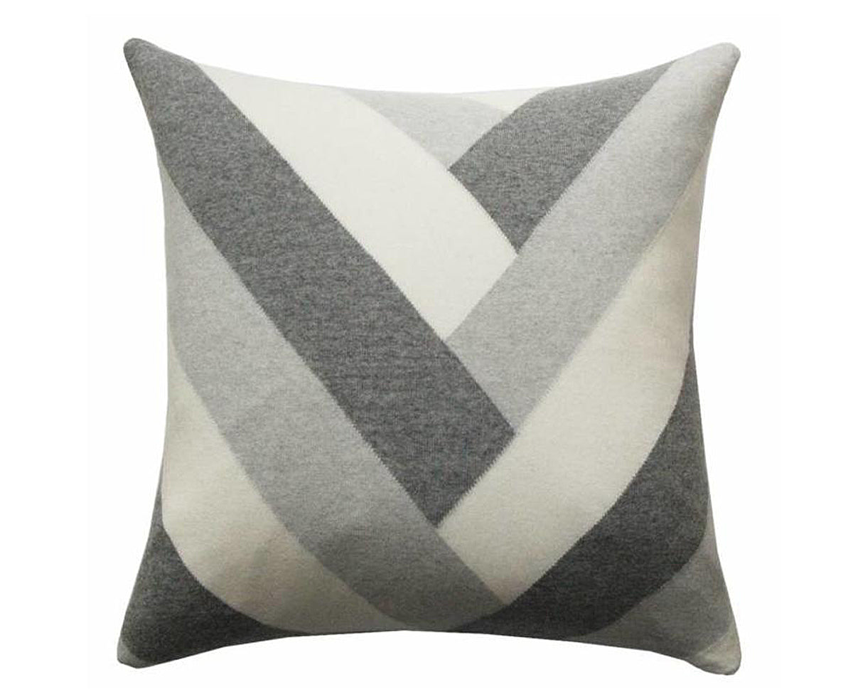 Cashmere V Pillow - Pearl, Gray, Ivory