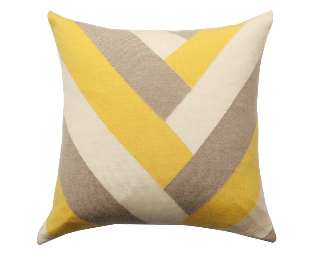 Cashmere V Pillow - Yellow Taupe Ivory by Rani Arabella | DSHOP