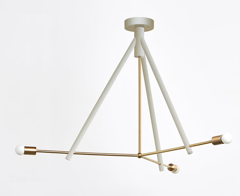Conemporary White & Brass Chandelier | DSHOP