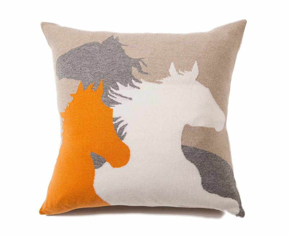 Horse Pillow - Orange Beige Ivory Gray