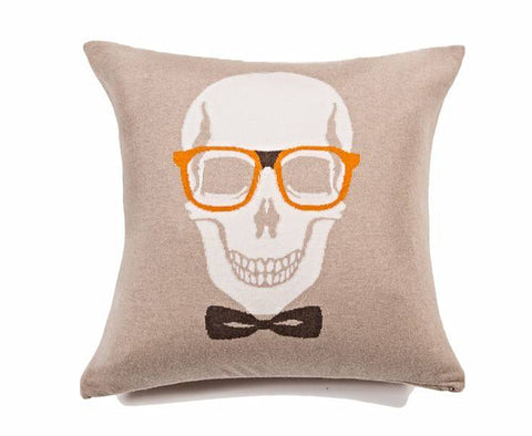 Skull Bow Pillow - Sand Orange