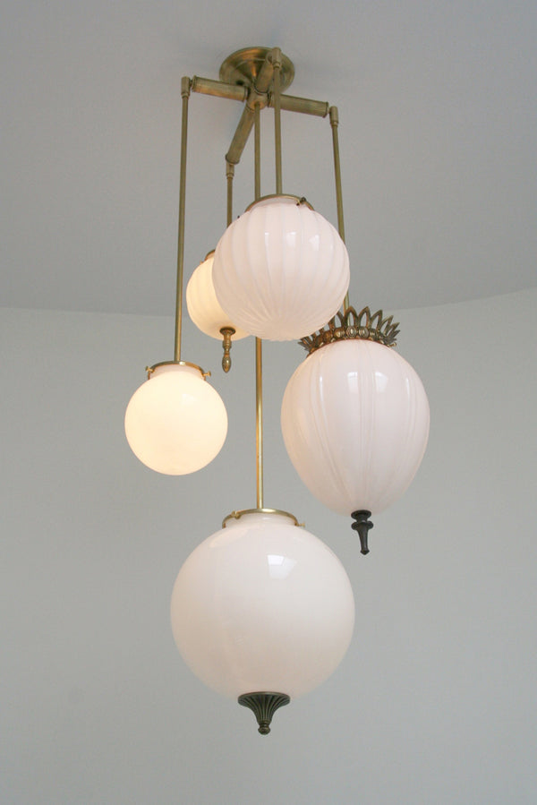 MJ Brilliant Chandelier Milk Glass - 5 Arm | DSHOP