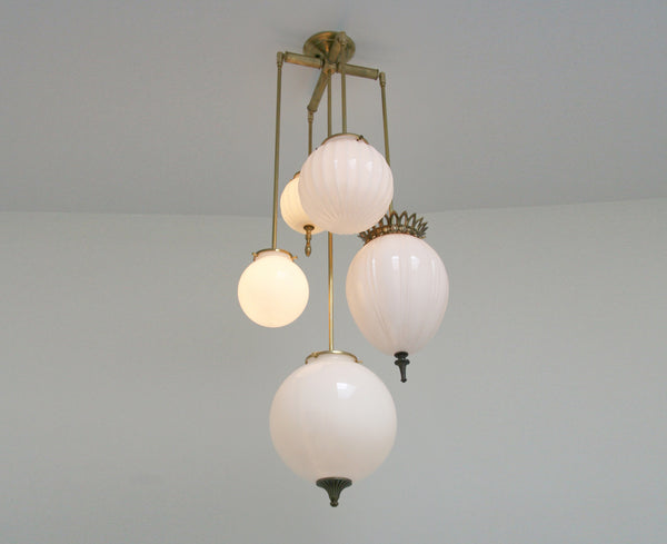 Brilliant Chandelier Milk Glass - 5 Arm | DSHOP