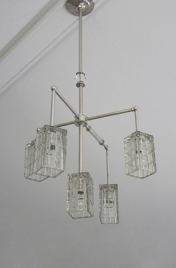 Vintage Glass Brilliant Cubed Chandelier - 5 Arm | DSHOP