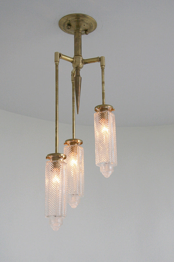 Vintage Glass Chrysler Chandelier - 3 Arm | DSHOP