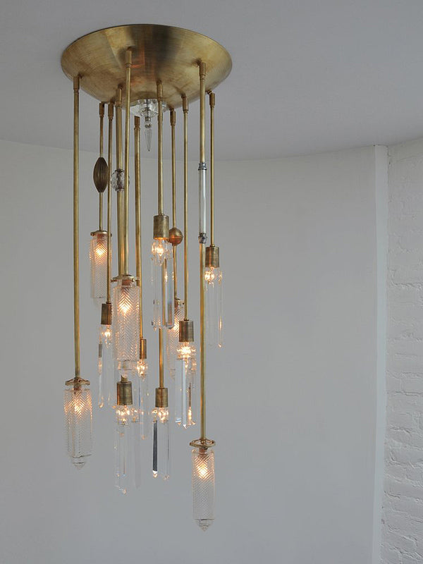 Vintage Glass Chrysler Chandelier - Brass - 12 Arm  | DSHOP