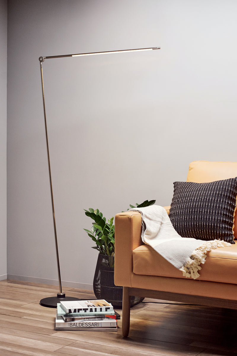 Thin Floor Lamp - Oxidized Brass