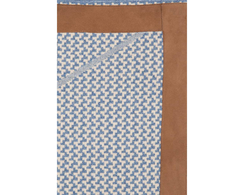 Checker Blue & Beige Cashmere Throw | DSHOP
