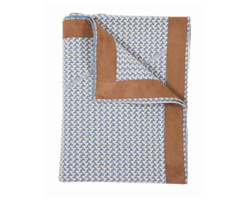 Masculine Cashmere Throw in Blue & Beige | DSHOP