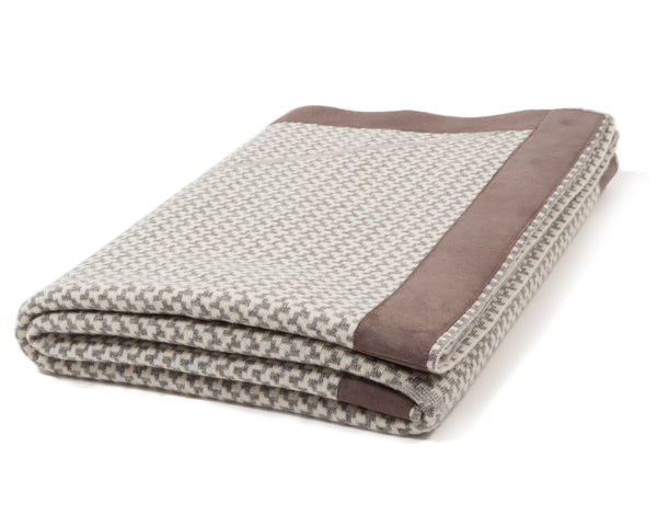 Cashmere Jacquard Throw With Suede Trim | DSHOP