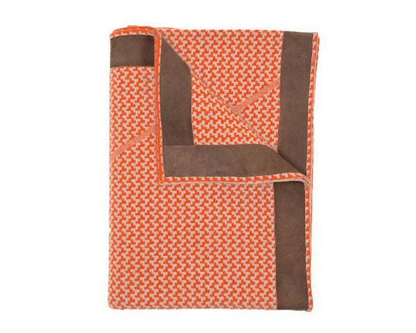 Denver Cashmere Jacquard Throw - Orange Sand