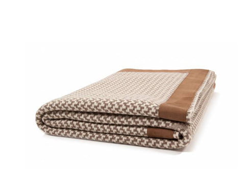 Denver Cashmere Jacquard Throw - Taupe Ivory