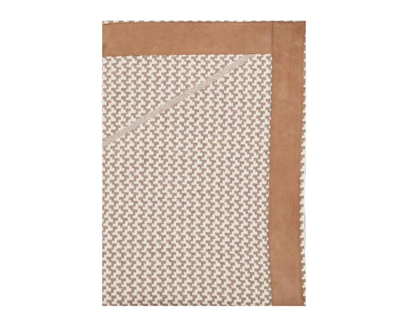 Houndstooth Cashmere Throw in Tan & Cream | DSHOP