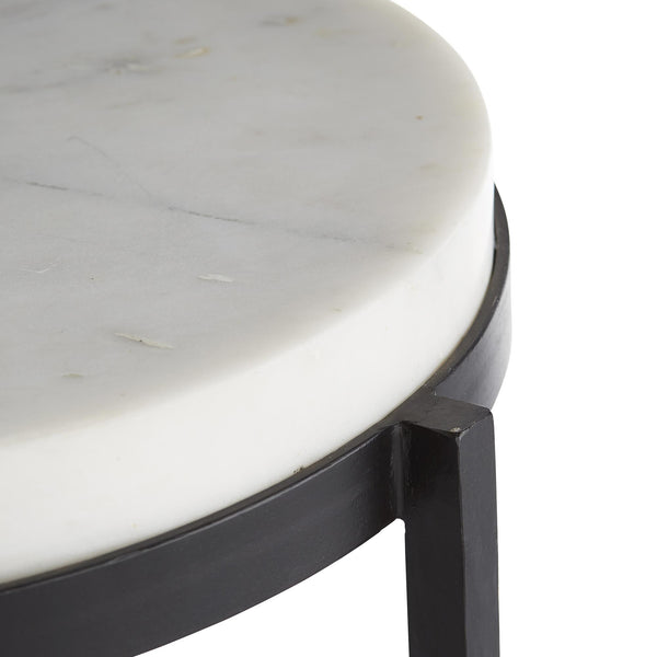 Kelsie Accent Table in white marble and black iron | DSHOP