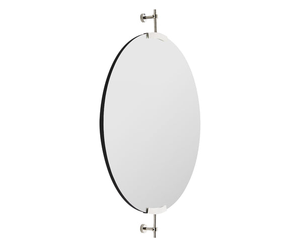 Polished Nickel Round Mirror | DSHOP
