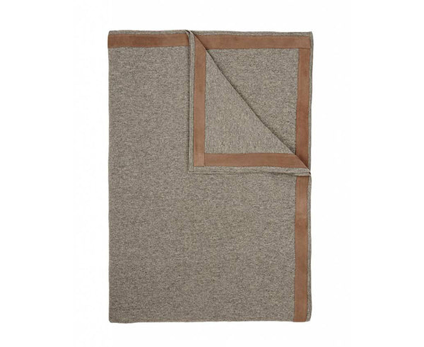 Palermo Cashmere Throw w/ Suede - Gray | DSHOP