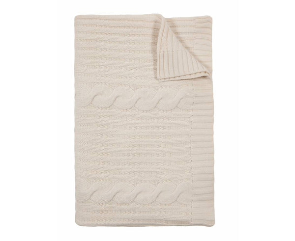 Roma Cable Knit Cashmere Throw - Ivory | DSHOP