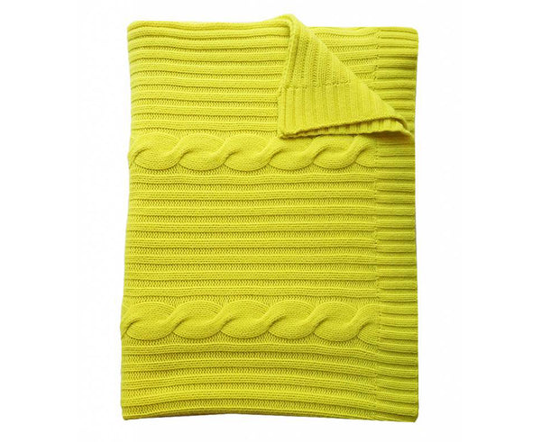 Roma Cable Knit Cashmere Throw - Neon Yellow