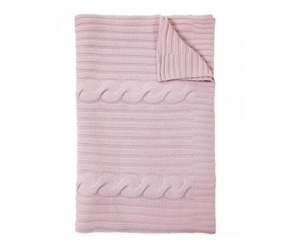 Roma Cable Knit Cashmere Throw - Pink