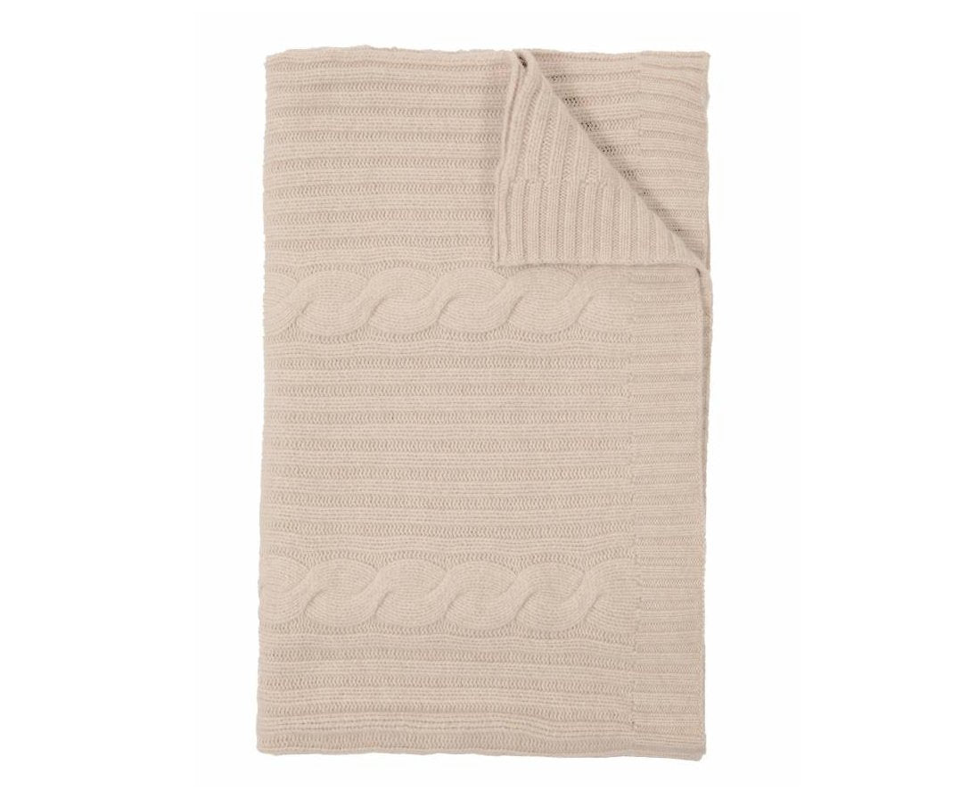 Roma Cable Knit Cashmere Throw - Sand