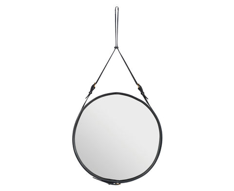Adnet Round Mirror - Black Leather