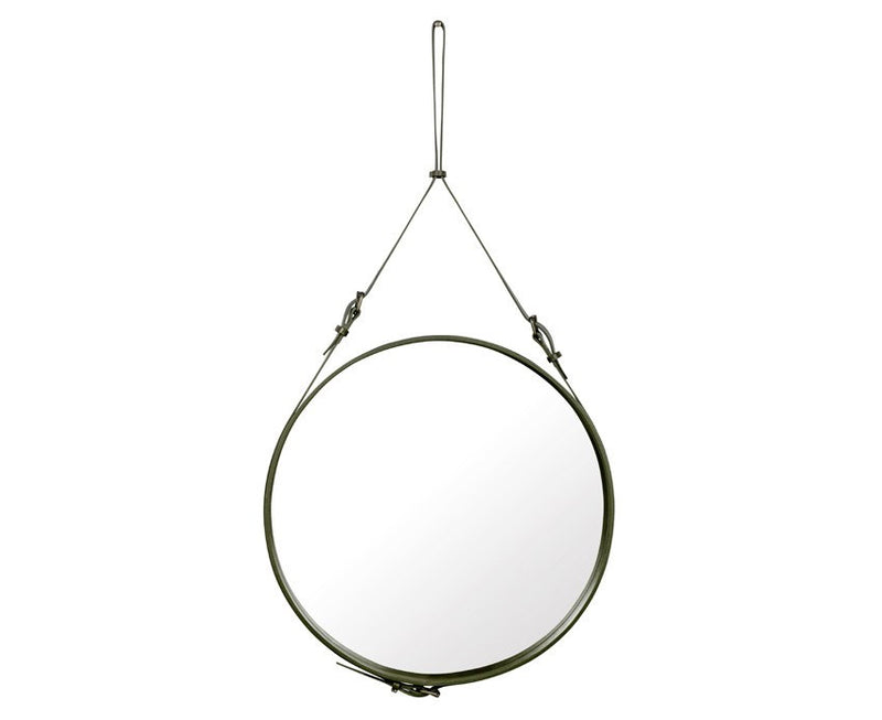 Adnet Circulaire Mirror - Olive Green by Jacques Adnet