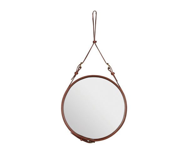 Adnet Round Mirror - Tan Leather