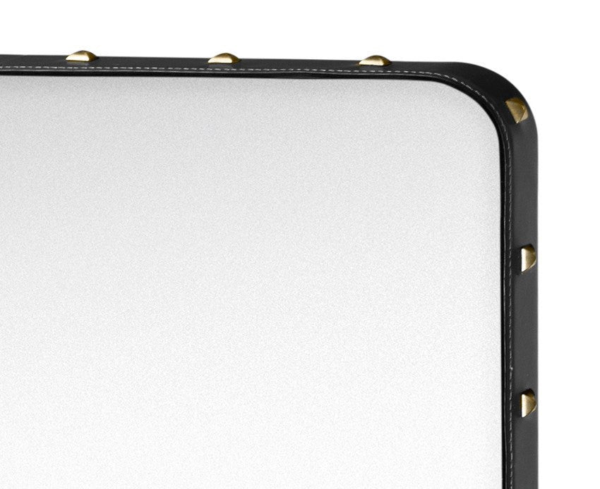 Adnet Rectangulaire Mirror - Black with Brass Rivets