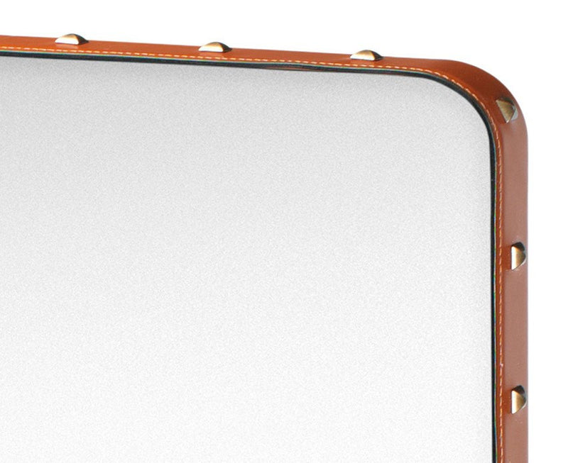 Adnet Rectangulaire Mirror - Tan with Brass Rivets