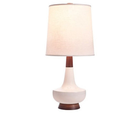 Alberta Table Lamp - White + Walnut