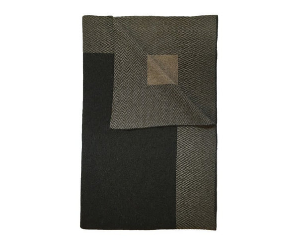 Darien Cashmere Throw - Anthracite / Beige
