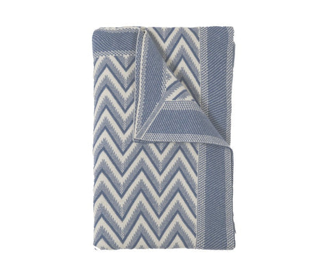 Dillon Cashmere Throw - Denim, Ivory