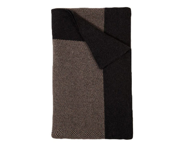 Henry Cashmere Blend Queen - King Blanket - Anthracite / Taupe