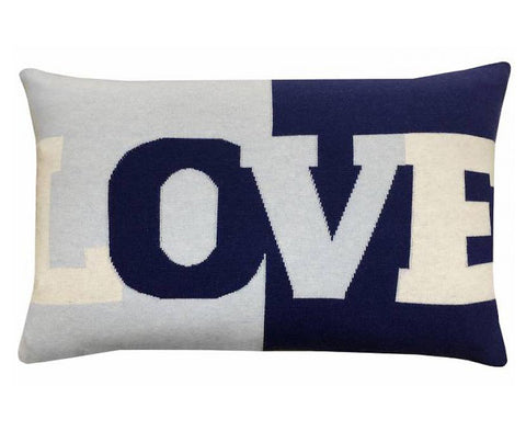 Cashmere Love Pillow - Navy Light Blue