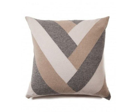 Cashmere V Pillow - Beige, Gray, Ivory