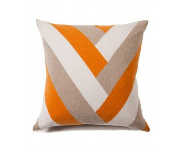 Cashmere V Pillow - Beige, Orange, Ivory