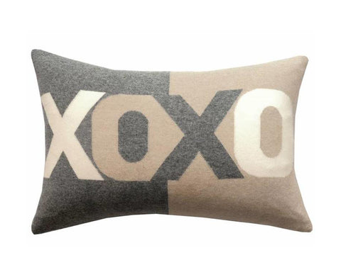 Cashmere XOXO Pillow - Gray Sand Ivory