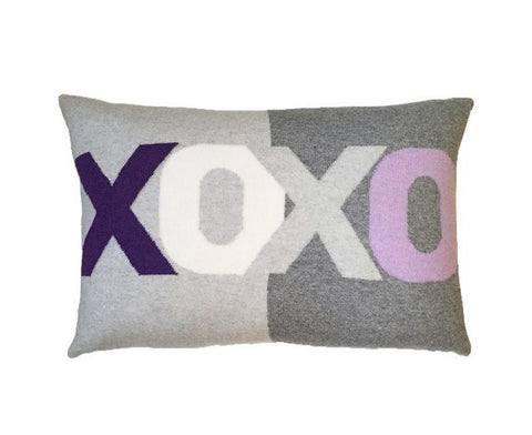Cashmere XOXO Pillow - Purple Pearl-Gray Lilac Ivory