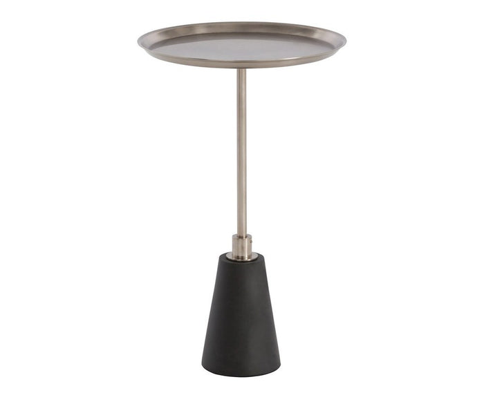 Celeste Accent Table - Black Marble & Vintage Silver