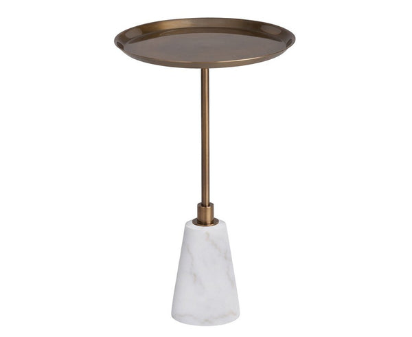 Celeste Accent Table - White Marble & Antique Brass