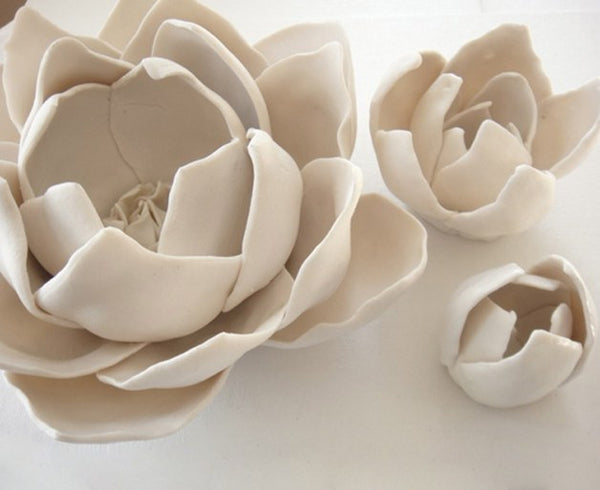 Unglazed White Porcelain Lotus Flowers