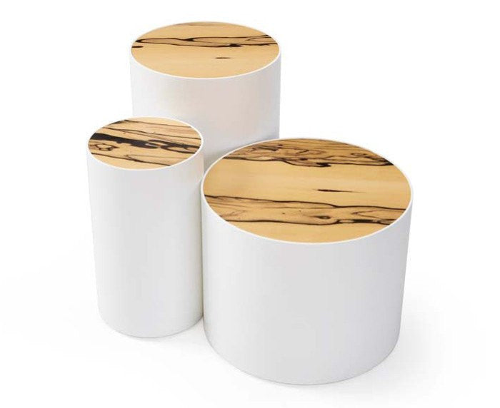 Small Drum Tables in White & Royal Ebony