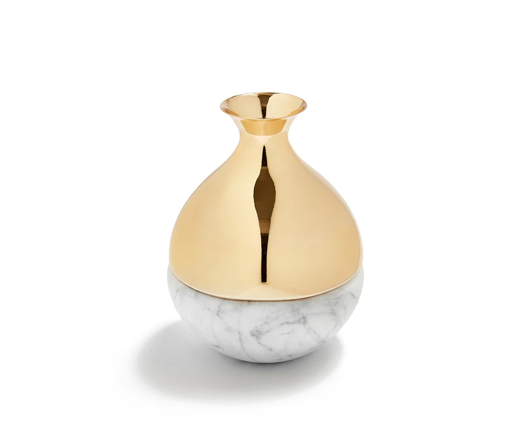 Dual Bud Vase - Carrara / Golden