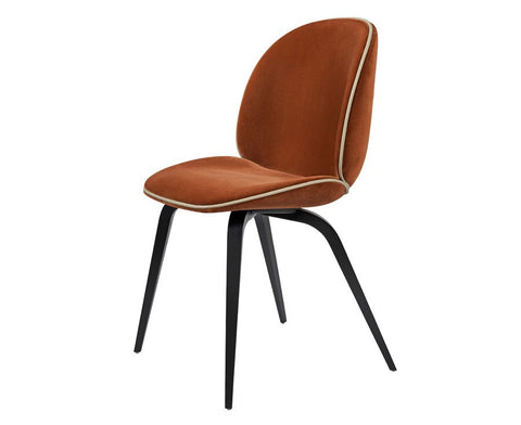 Upholstered Beetle Dining Chair - Wood Legs