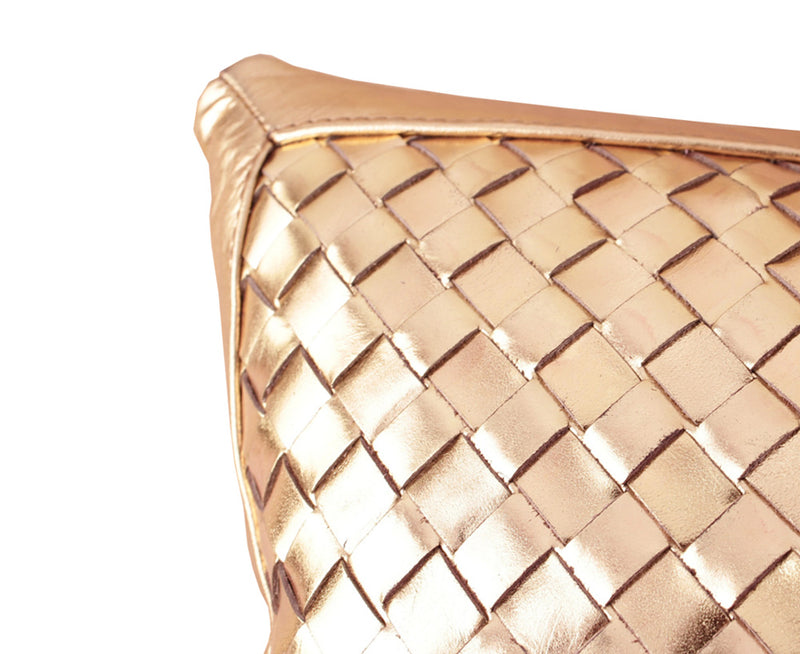 Bling Antique Gold Leather Pillow - Lance Wovens