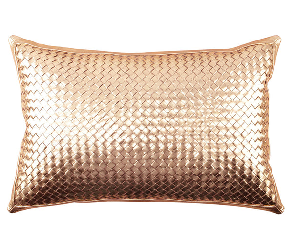 Woven Leather - Bling Antique Gold Pillow