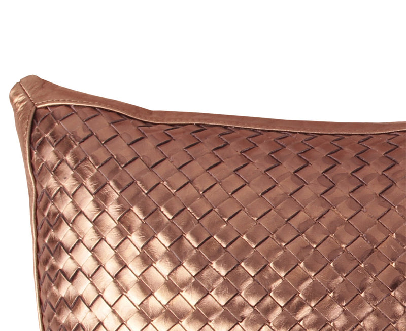 Bling Bronze Leather Pillow - Woven Leather