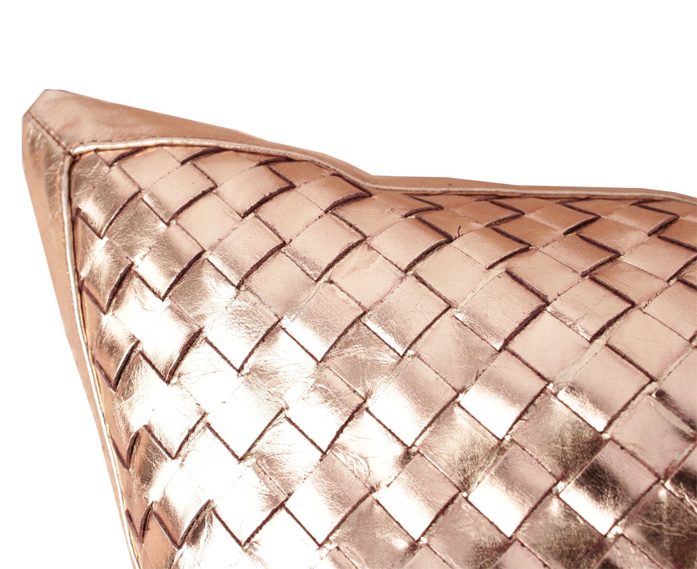 Bling Copper Gold Leather Pillow | Lance Wovens